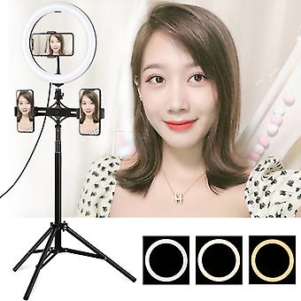 PULUZ 1.65m Tripod Mount + Dual Phone Brackets + 10.2 inch 26cm Curved Surface USB 3 Modes Dimmable Dual Color Temperature Ring Vlogging Video Light L