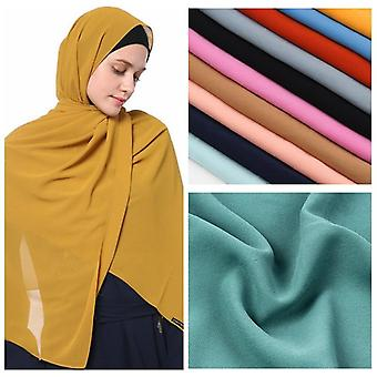Women Bubble Chiffon Solid Oversizes Muslim Head Scarf, Ladies Shawl And Wrap,
