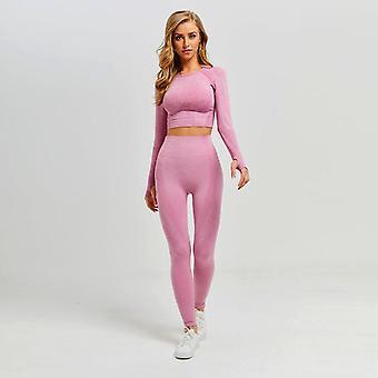 Women Vital Seamless Yoga Set Gym Clothing Fitness Leggings+cropped Shirts