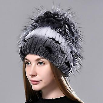 Women Natural Rabbit Fur Flower Fluffy Fox Stylish Warm Knitted Caps (mix-01)