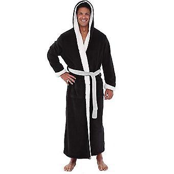 2020 Men Bathrobe Flannel Hooded Thick Casual Winter Autumn Long Kimono Robe