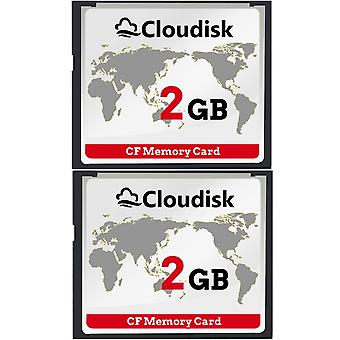 Cloudisk 2x compacte flash 2gb cf geheugenkaart prestaties voor vintage digitale camera (2pcs 2 gb) 2x 2