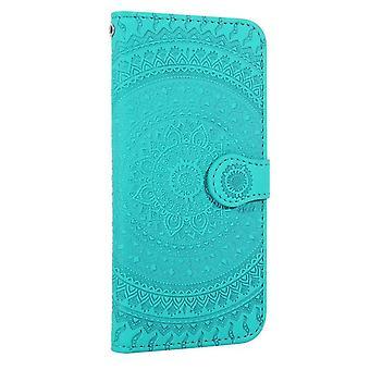Apple iPhone X / XS Flower Flip Cover - Blauw Groen