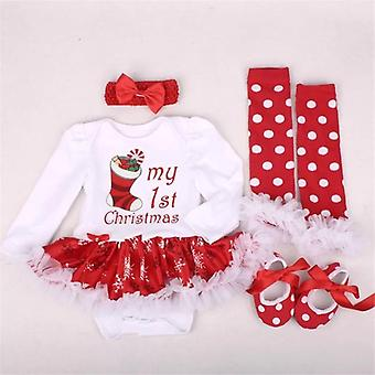 Baby Dress-Style Romper, Shoes, Socks And Headband , Snowflake, Ruffle