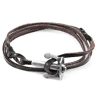 ANCHOR & CREW Union Anchor Silver and Flat Leather Bracelet