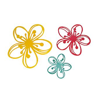 Set of 3 Brightly Colored Metal Floral Splash Silhouette Wall Sculptures