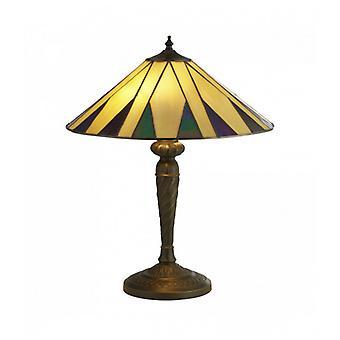 Tiffany Lámpara De Mesa De Sombrero Amarillo Multi
