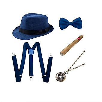 Gentleman Party Outfits 5Pcs 1 Set Hat Cigar Pocket Watch Suspenders and Bow Tie Blue
