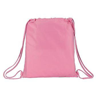 Backpack with strings smiley white pink
