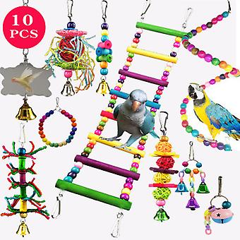 Parrots Swing Toys 10pcs Set, Cockatiels Swing Chewing Toys Hanging Perches With Bells, perruches Cage Wooden Block Toys