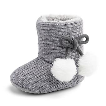 Autumn And Winter Wool Ball Warm Baby Shoes Soft Bottom Toddler Shoes