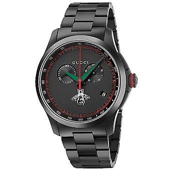 Gucci Ya126269 Czarna tarcza zegarek ze stali nierdzewnej dla mężczyzn