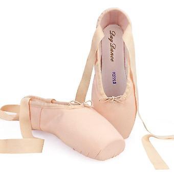 Lærred Ballet Pointe Sko Kvinder Ladies Professional Med Silikone Tå Pads