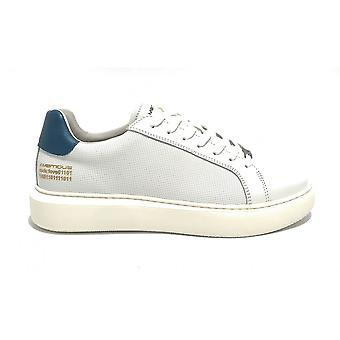 حذاء الرجال الطموح 10634a أحذية رياضية في الجلود البيضاء / الأزرق القاع عالية US21am08