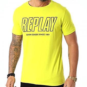 Toista printti Logo Crew Neck T-paita Limenvihreä M3395