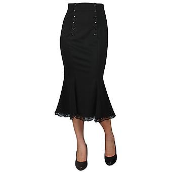 Chic Star Double Button Skirt In Black