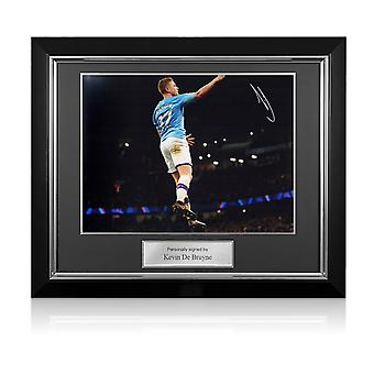 Kevin De Bruyne Signed Manchester City Photo. Deluxe Frame