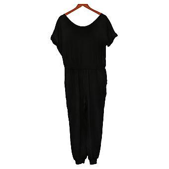 Anybody Jumpsuits Petite French Terry Short Sleeve Jumpsuit Black A393057