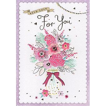 ICG Ltd Open Birthday Card Palladium Range - Bouquet