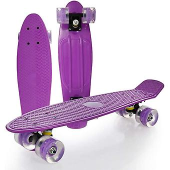 DZK Mini Cruiser Skateboard. 22x6inch Retro Cruiser Board Skateboard for Kids Girls Boys Beginners