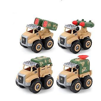 4 pezzi costruzione veicolo assemblaggio vite giocattoli auto (giallo)