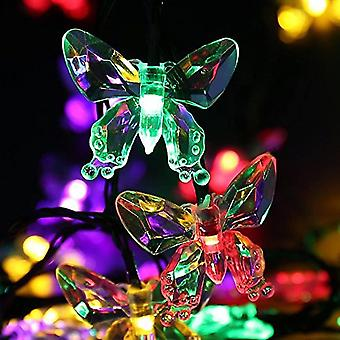 FengChun Lichterkette, solarbetrieben, Outdoor, wasserdicht, 20 Schmetterling-LEDs, Dekoration, 4,5