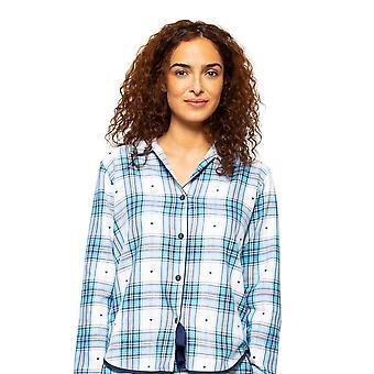 Cyberjammies Stella 4617 Mujeres's Blanco Mix Corazón Dobby Comprobar Pyjama Top