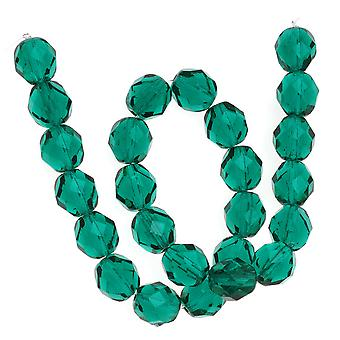 Cuentas de vidrio pulido de fuego checo 8mm Round Emerald Green (25)