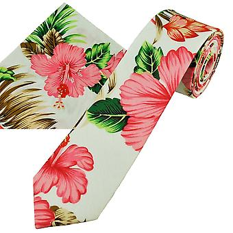 Ties Planet White With Pink Hibiscus Flower Patterned Cotton Men's Skinny Tie & Pocket Square Handkerchief Set