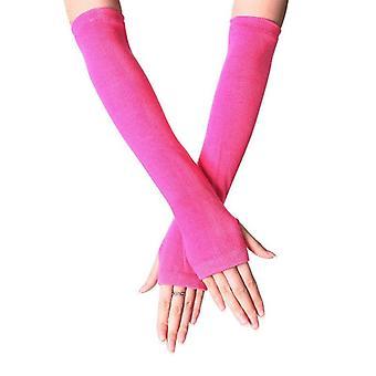 Women Lady Striped Elbow Long Fingerless Gloves