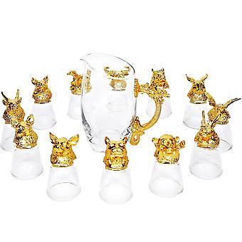 Chinese Zodiac, Karaffset with 12x Glass - Gold