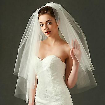 Mode Mariage Voile Tulle Simple Ivoire Blanc