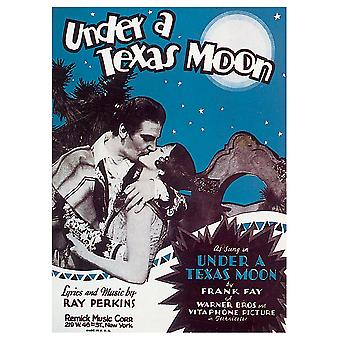 Vintage Musik Cover Under A Texas Moon - Lærred Print, Wall Art Decor