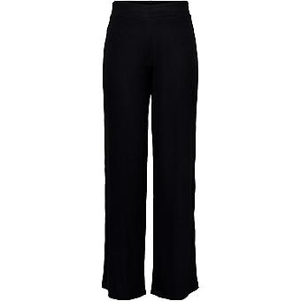 Only Womens Leg Trousers Stretchy Rib Knit Elasticated Waistband Pants Bottoms