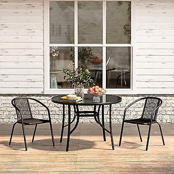 Ensemble de 3 jardin 105CM Table parapluie en verre et ensemble de chaises empilables