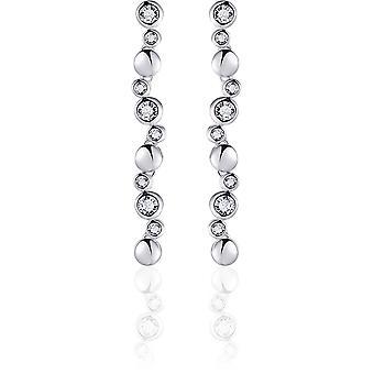 Gisser Jewels - Örhängen - Hängande Örhängen set med Zirconia - 35mm x 5mm - Gerhodineerd Zilver 925