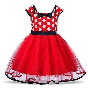 Meninas do desenho animado polka dot vestido princesa festa tutu saia vermelho tamanho 100