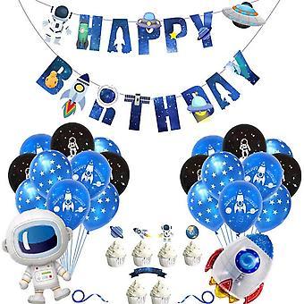 Weltraum Luftballons Geburtstagsdeko, Astronauten Raumschiff Raketen Folienballon, Happy Birthday