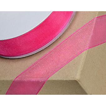25m Fuchsia Pink 3mm Bred vævet Kant Organza Bånd til Håndværk
