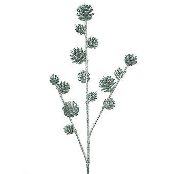 Tall 57cm Silver Pine Cone Spray - Floristry Stem