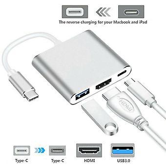 Typ C auf USB-C 4K HDMI USB 3.0 3 in 1 Hub Adapter Kabel für Apple Macbook Mac