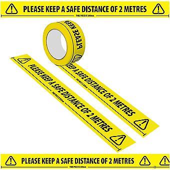 (2PCS) Social Distancing Vloermarkering Tape Geel Gevaar Veilige Afstand
