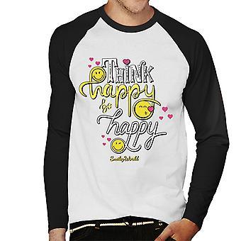 Smiley World Think Happy Be Happy Men's Baseball Long Sleeved T-Shirt