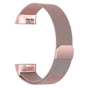 Pulsera de lazo milanés compatible con Fitbit Charge 3 (Rosa)