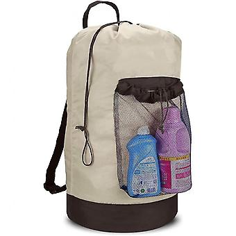 Backpack Laundry Bag, Laundry Backpack With Shoulder Straps And Mesh Pocket Durable Nylon (gray)