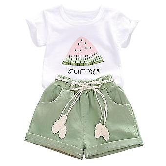 Kids Baby Girl Print Summer Outfit Short Sleeve Top Shorts Clothes Set