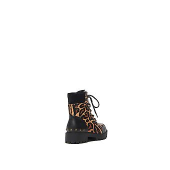 Desigual Biker Leopard Print Army Chunky Leather Boots Style 21WSTL02