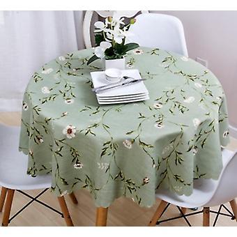 90cm große Garten Tischdecke, Baumwolle und Leinen europäischen runden amerikanischen Land Tischdecke (grün)