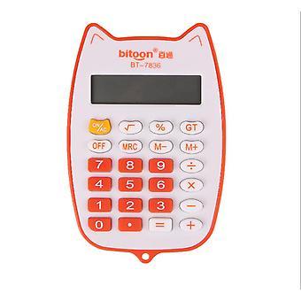 Jolie calculatrice portable pour les étudiants, calculatrice électronique de puissance de batterie (orange)