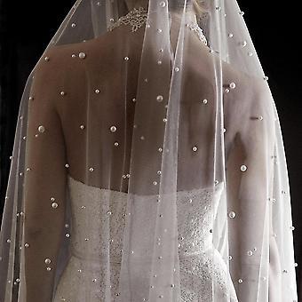 Bridal Blusher Veil With Pearls Velos Wedding Beads Veil